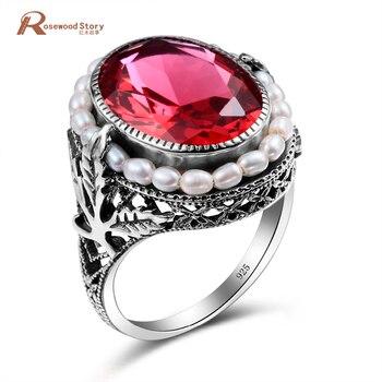 0e4d3fb08a06 100% Natural genuino anillo de perla agua dulce elegante Lab Ruby piedra CZ  anillo de Plata de Ley 925 anillos de cóctel para las mujeres de la boda