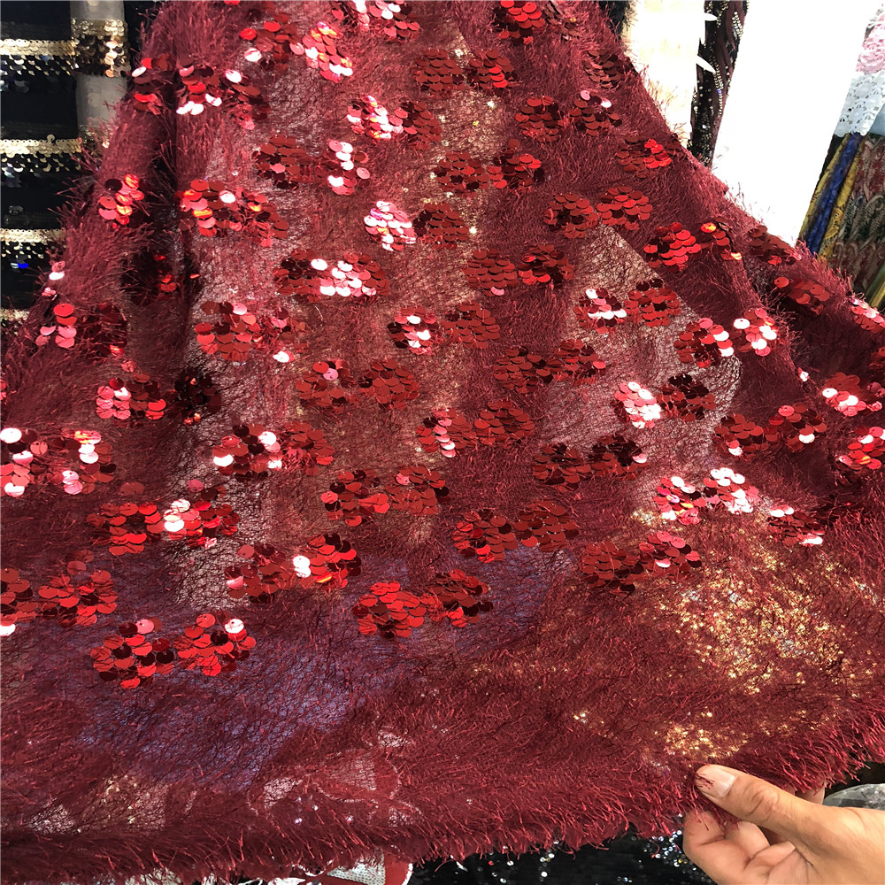 French Net Lace Fabric 2018 Latest african guipure lace fabric with embroidery mesh tulle Red wine