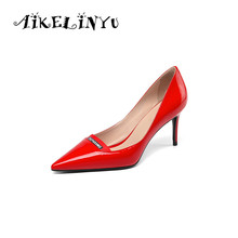 AIKELINYU 2019 Spring Genuine Leather Heels Shoes Woman Red Wedding Ladies Fine Dress Lacquer