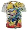 Chegam novas Colorido Uzumaki Naruto 3D T shirt do Verão Dos Homens/Mulheres Estilo Graffiti Naruto Manga Curta Camisetas Moda Legal Tee Tops