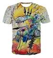 Nuevo Llega El Colorido de Uzumaki Naruto 3D T camisa de Verano Hombres/Mujeres Graffiti Estilo Naruto Manga Corta Camisetas Moda Fresca Tee Tops