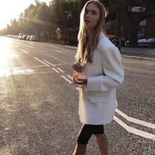Classic Dad Jacket Wool Blended Rice White Suit In 2019 Single Breasted Women Jackets and Coats Suit