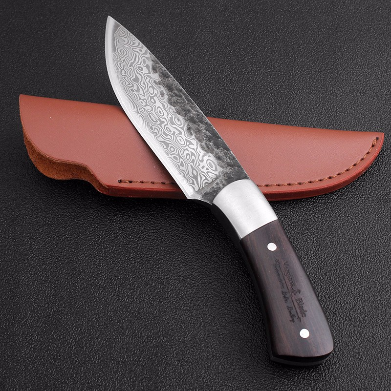 Image 5 - High carbon steel damascus Pattern fixed blade hunting knife 