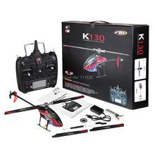 Wltoys xk k130 2.4g 6ch sem escova 3d 6g sistema flybarless rc helicóptero rtf 6 canais combo compatível com futaba S FHSSRTF