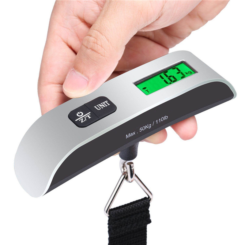 Portable Mini LCD Luggage Electronic Scale Thermometer 50kg Capacity Hanging Digital Weighing Hook Scale Device #