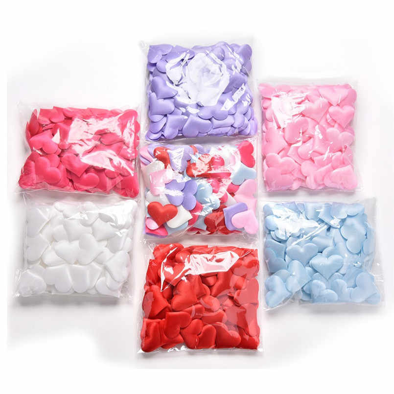 100 Pcs 3 cm Multicolor Coração Ofício DIY Pétalas De Cetim Esponja Patchs para Menina Das Mulheres Feitas À Mão Acessórios de Decoração Manualidades