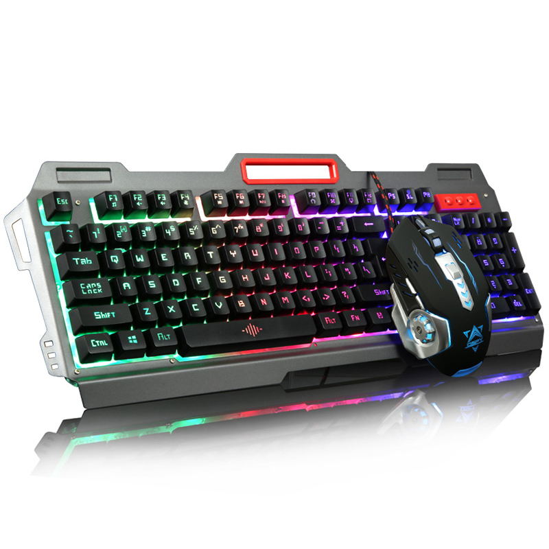 104 keys k 38 wired led backlit illuminated metal panel ergonomic usb gaming keyboard mouse. Black Bedroom Furniture Sets. Home Design Ideas