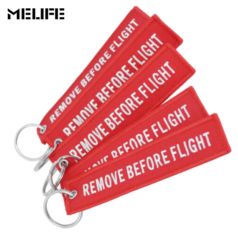 MELIFE Sport Climbing accessories Remove Before Flight Chaveiro Tag Embroidery Keychain Aviation OEM Key Chain Key Fob 3-6 PCS