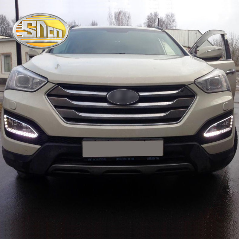 SNCN LED Daytime Running Light For Hyundai Santa Fe IX45 2013 2014 2015 Car Accessories Waterproof 12V DRL Fog Lamp Decoration led zeppelin mothership 4 lp