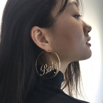 Statement Baby Femme Letter Big Hoop Earrings For Women Girl Simple Gold Color Punk Large Circle Earrings Dancer Jewelry ABE6 earrings