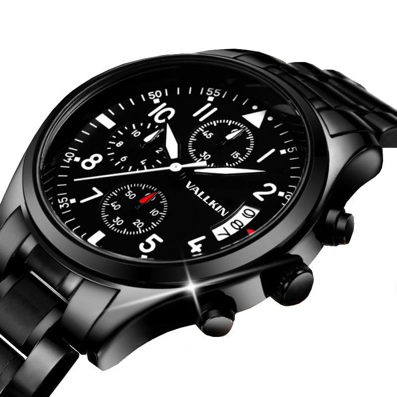Mens de lujo negro relojes de pulsera masculina relojes de cuarzo - Relojes para hombres - foto 5