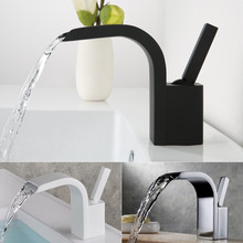 Europe Style Copper Basin Faucets Waterfall Faucet Cold And Hot Water Basin Faucet Basin Sink Mixer Tap Brass Made Deck Mounted