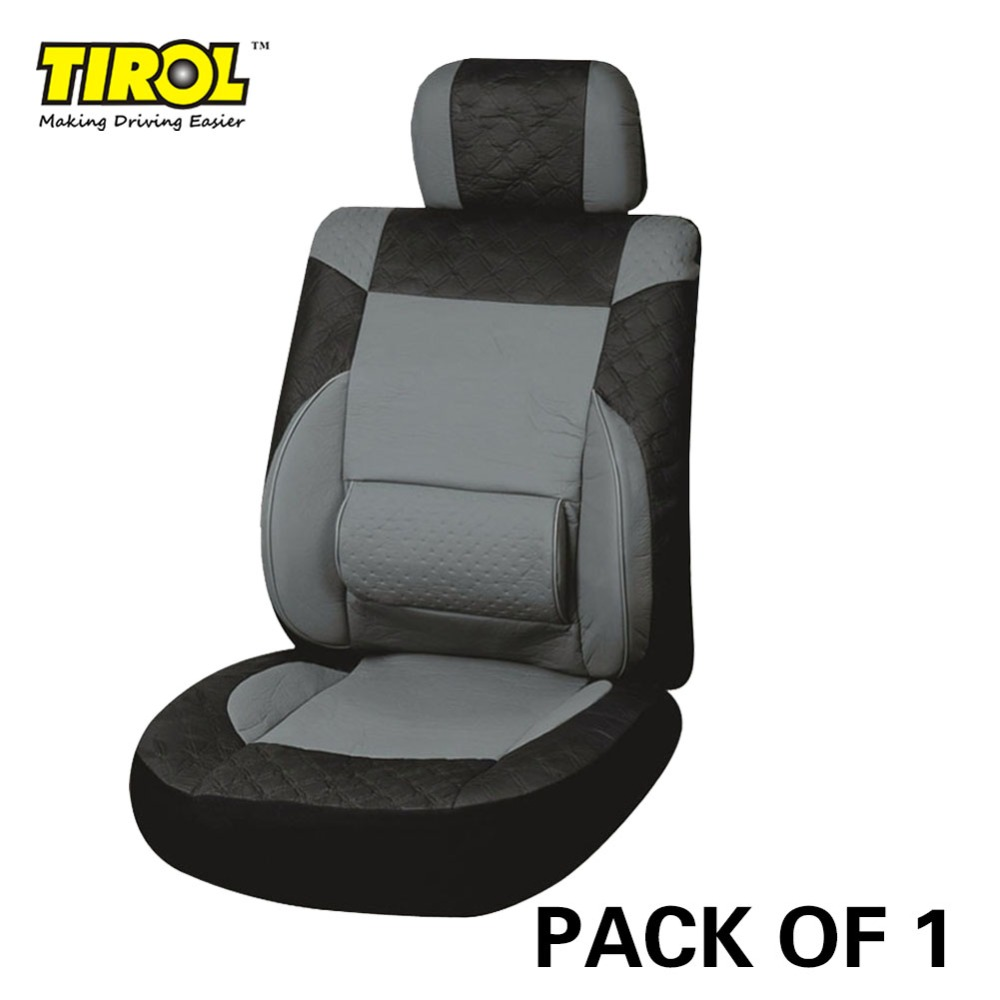 TIROL NEW Universal PU Leather Car Front Single Seat Covers For Crossovers Sedans Black Gray T23061a PACK OF 1 Free Shipping