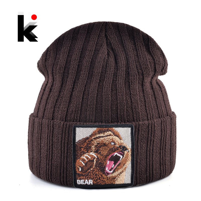Embroidery Bear Knitted   Beanies   Hat Men Solid Color Autumn Winter Knitting Boy   Skullies   Caps Women Streetwear Kpop Gorras Bonnet