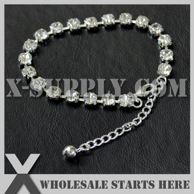 P2 6mm Round Rhinestone Tennis Bracelet Cup Chain Silver Color For The Crystal