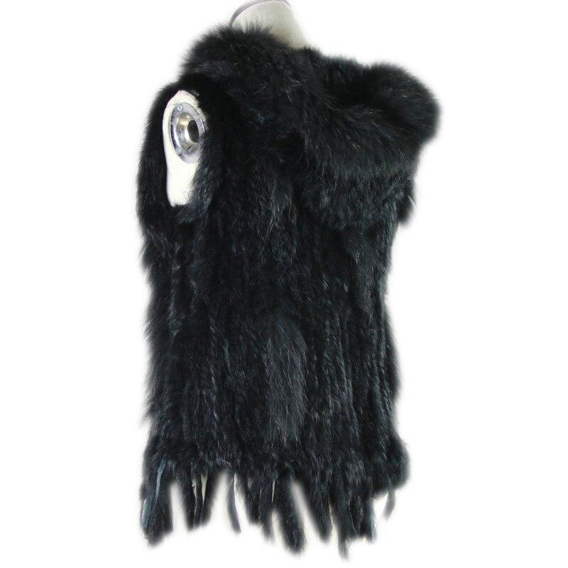 real rabbit fur vest with hat raccoon fur trimming knitted rabbit fur vest with hood fur waistcoat gilet 2019 brazil sale