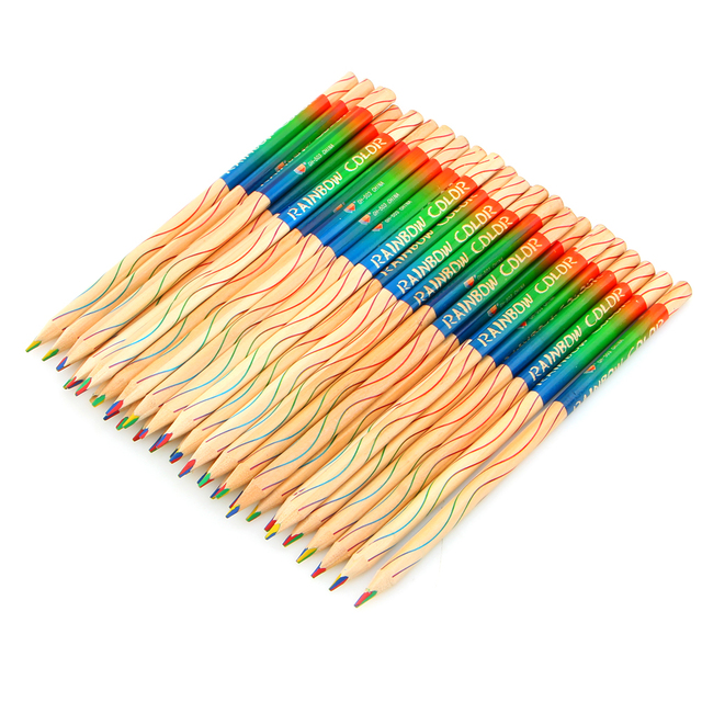 DIY Rainbow Wooden Colored Pencils 10 pcs Set