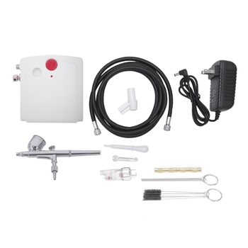 Us Plug,Dual Action Mini Airbrush With Compressor Cake Decoration 100-250V With Airbrush Cleaning Set And Mini Air Filter