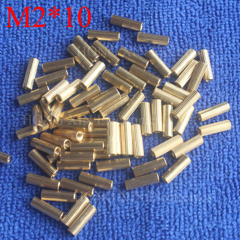 M2*10 1Pcs Brass Spacer Standoff 10mm Female To Female Standoffs column cylindrical High Quality 1 piece sale m2 3 3 1pcs brass standoff 3mm spacer standard male female brass standoffs metric thread column high quality 1 piece sale