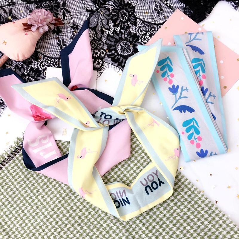 Korea Colorful Cloth Print Rabbit Ears Headbands For Girls Lovely Flower Hair Accessories Hairbands Hair Bows -4