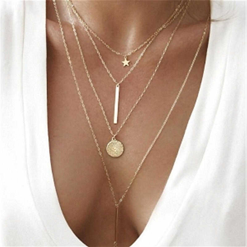 Bohemian Women Necklaces Star Geometric Round Multi Layer Necklace & Pendants Charm Bar Statement Necklace For Women