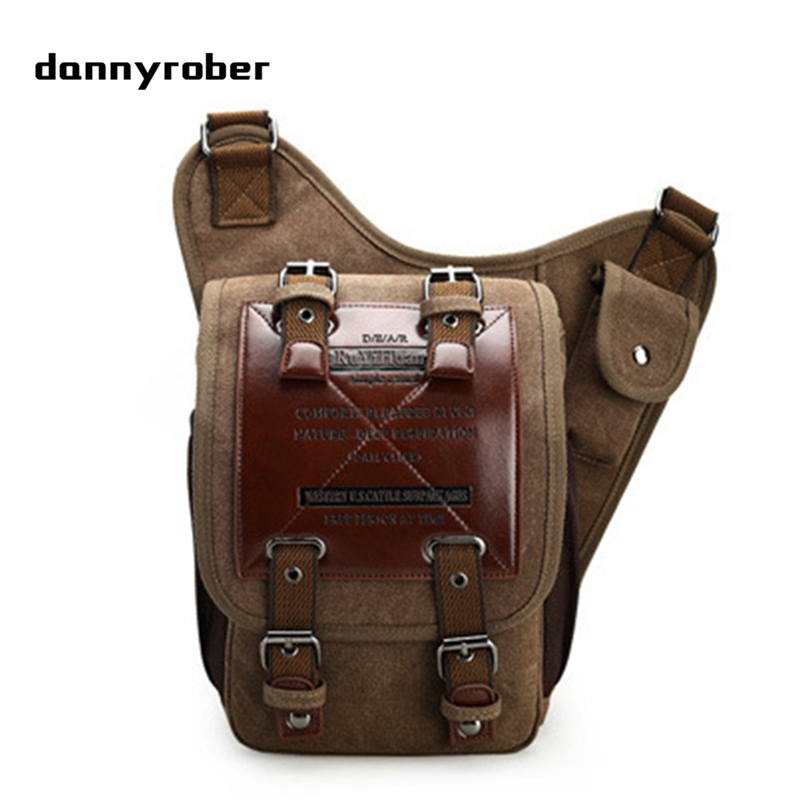 DANNYROBER Men's Crossbody Bags Vintage Canvas Leather  School Satchel Military Shoulder Bag Male Messenger Bag Postman Package aerlis brand men handbag canvas pu leather satchel messenger sling bag versatile male casual crossbody shoulder school bags 4390