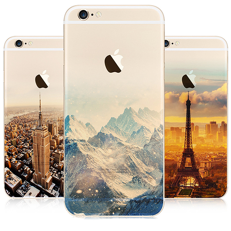 Ultra Thin Soft SiliconTransparent Landscape Pattern TPU Cases For iPhone 5s 6 6s 7 plus Phone Cases Cover For iPhone 5 Case SE