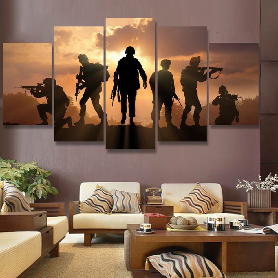 Home Decor HD Frame Poster Painting Wall Art Modern 5 Panel Setting Sun Battlefield Soldiers Living Room Printed Canvas Pictures