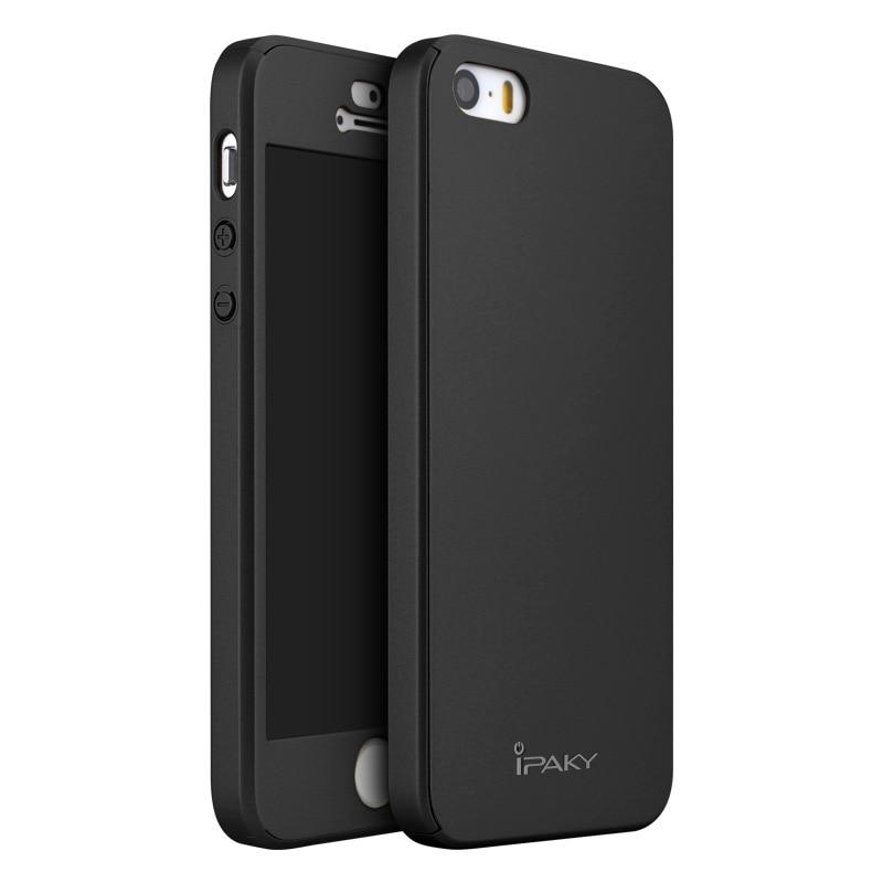 D'ORIGINE iPAKY de luxe Classique pleine protection en plastique dur cas pour l'iphone SE pour l'iphone 5S avec trempé protecteur en verre