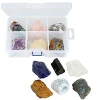 TUMBEELLUWA 1 Box (6Pc) Natural Rough Crystal Quartz Gem Stone Rocks Mineral Collection Box,Healing Crystal