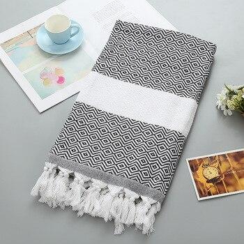 Summer Cotton Quick-Dry Shower Bath Towels Striped Beach towel Toalla playa Fouta towels Tassel Scarf Turkish Towel for Adult 1