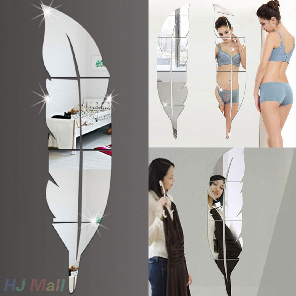 DIY Mirror Wall Sticker Feather Acrylic Mirror Effect Home Decoration Mirror Mural Makeup Spiegel Decal Removable Home Decor