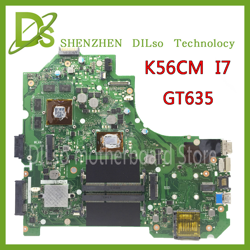 For ASUS K56CB K56CM A56C S550CM Laptop Motherboard  i7 GT635  Mainboard 100% tested  K56CM mainboard  Non-Integrated  k56cb laptop motherboard for asus with i7 cpu non integrated k56cm mainboard 100