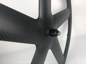 Image 5 - 700C Volle Carbon 5 Speichen Klammer/Rohr Räder Fünf speichen carbon laufradsatz für Track/Rennrad UD /3K matte finish