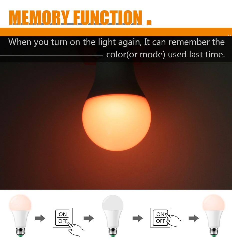 Λάμπα led πολύχρωμη με χειριστήριο και μηχανισμό μνήμης msow