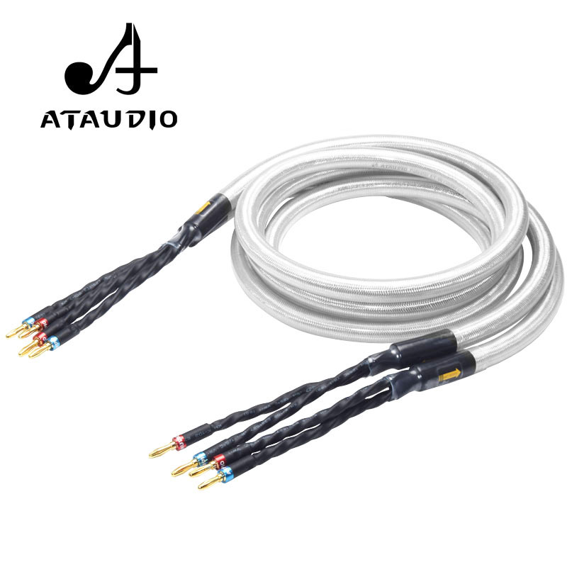 ATAUDIO Hifi Silver and Copper Speaker Cable High Quality Speaker Wire With Gold plated Banana Jack