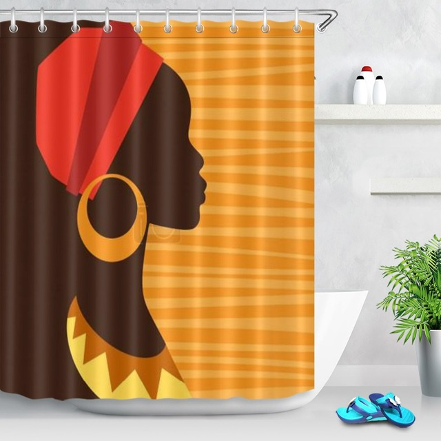 LB Eco Friendly Waterproof Afro Girl African American Shower Curtains Woman Bathroom Curtain Polyester Fabric