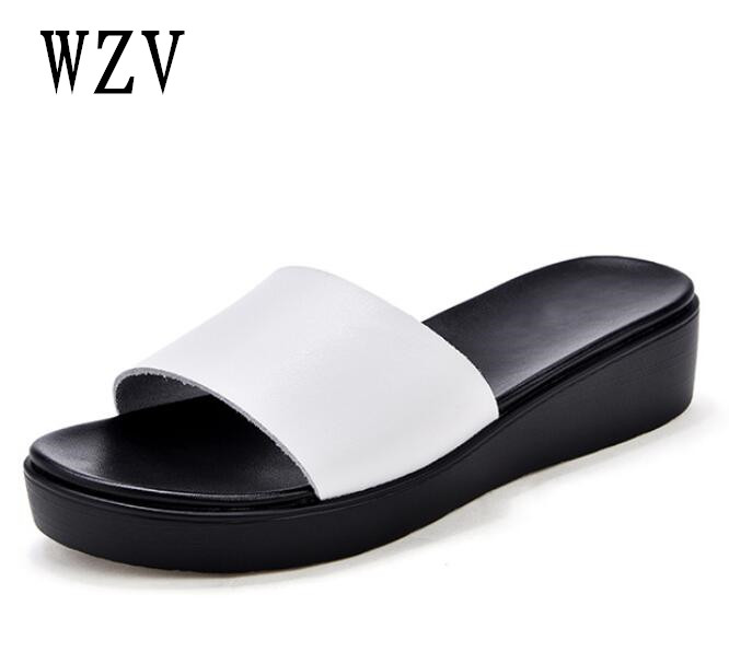 2018 Women Sandals Flips Flops Summer Genuine leather Woman slippers Fashion simple Female Slides Ladies flat Shoes B119 mnixuan women slippers sandals summer