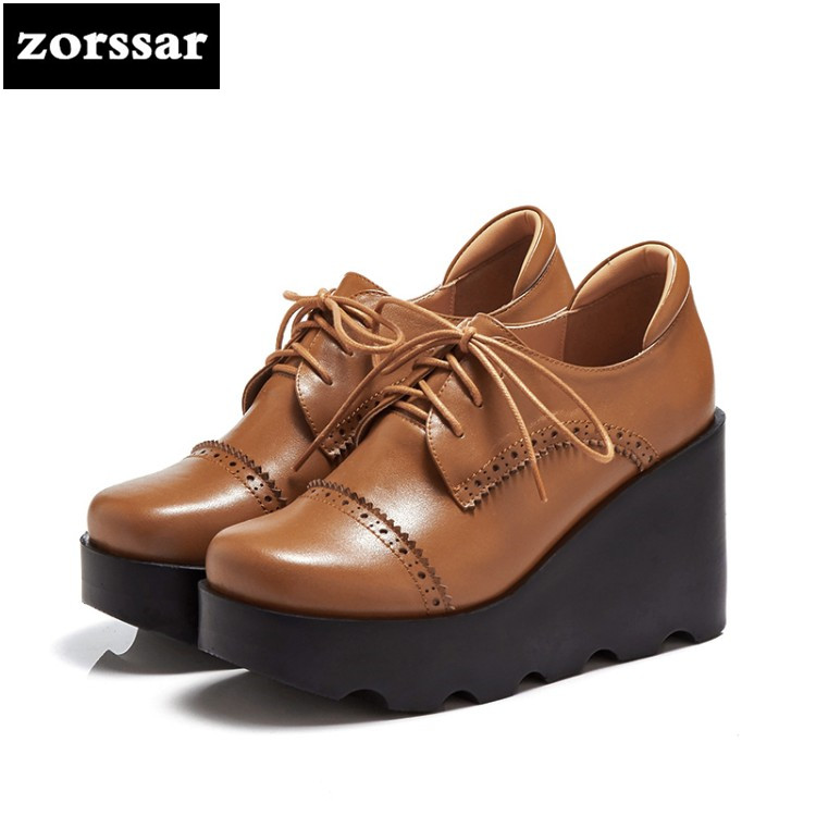 {Zorssar} 2018 fashion Genuine Leather womens Creepers shoes Platform heels Lace-up Wedges High heels pumps ladies casual shoes zorssar brand 2018 new womens creepers shoes heels casual wedges high heels pumps shoes fashion suede women platform shoes