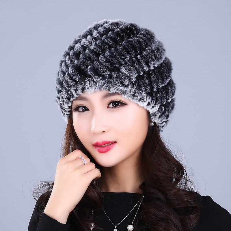 2016 Rex Fur Fashion Fur Hat Lady Winter Rabbit Ear Thick Warm Winter Hot New Pineapple Cap rabbit hair lady autumn winter new weaving small pineapple fur hat in winter to keep warm very nice and warm comfortable