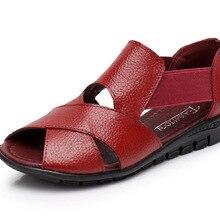 9282def7a Oukahui Marca 2018 Verão Roma Sandálias Gladiador Mulheres Sapatos Sandalia  Feminina Couro Genuíno Salto Cunha Sandálias
