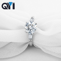 QYI 925 Solid Silver Trendy 2 ct Round cut Simulated diamond Engagement Wedding Rings Women Gift Ring Fashion Jewelry