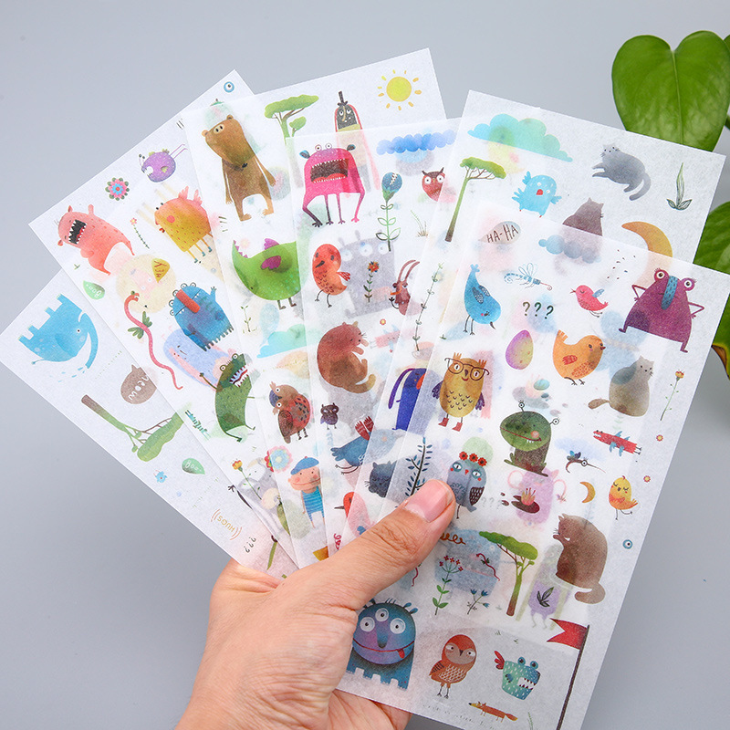 6PCS New Alien Creature Children Stationery For DIY Albums Scrapbooking Diary Decoration Cartoon Depicting Stickers