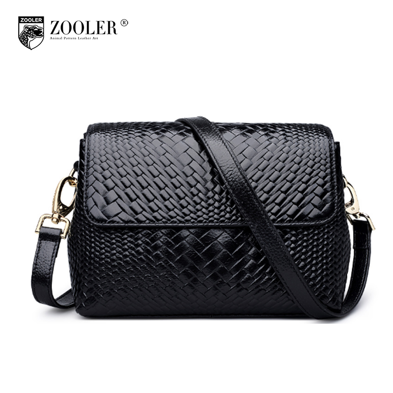 ZOOLER Brand Women Small Genuine Leather Shoulder Bags 2018 New Leather Woven Pattern Leisure Crossbody Messenger Bag Sac A Main