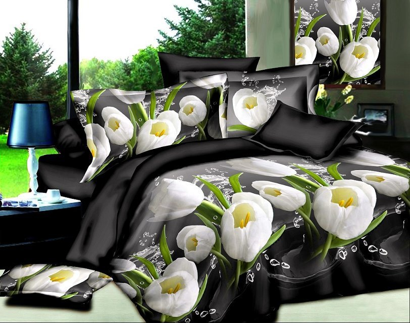 Sale European American style Home textiles Valentine's Day Bedding Set duvet cover Lilies Rose bed linen bedclothes for bedroom
