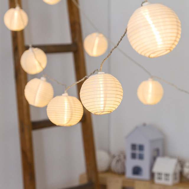 Ac220v Warm White Led Lantern String Lights Fairy Light Christmas Tree Decoration Cotton Ball Ac110v