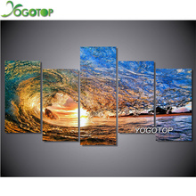 YOGOTOP DIY Diamond Painting Cross Stitch Kits Full Diamond Embroidery sea wave 5D Diamond Mosaic Needlework 5pcs ML107 yogotop diy diamond painting cross stitch kits full diamond embroidery dolphins 5d diamond mosaic needlework 5pcs ml104