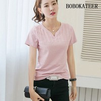 BOBOKATEER Loose White Solid V Neck Summer Tops Short Sleeve Big Size Feminina Blusas Feminina Ver