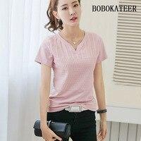 BOBOKATEER Loose White Solid V Neck Summer Tops Short Sleeve Big Size Feminina Blusas Feminina Ver