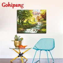 Sale Paint By Number Acrylic Landscape Forest & Lake Framed Photos Scenery DIY Decor Modern House Wall Canvas Prints 40X50cm